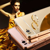 Luxury Mirror PC Back Cover & Metal Aluminum Frame Case For Xiaomi Mi4C 4C M4i Mi4i M4C Mobile Phone Cover