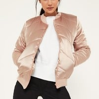 Missguided - Satin Quilted Bomber Jacket Nude