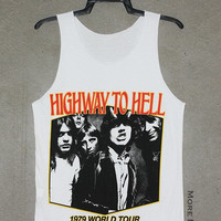 AC DC Highway To Hell White Singlet Vest Tunic Tank Top Sleeveless Shirt Women Indie Singer ACDC Australia Hard Rock Band T-Shirt Size S-M