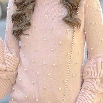 Miss Priss Peach Pearl Trim Long Tiered Pattern Sleeves Round Neck Pullover Sweater