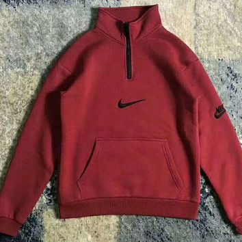 VXL8HQ Nike Fashion High Neck Zipper Embroider Logo Long Sleeve Sweater Wine red G-WMGCD
