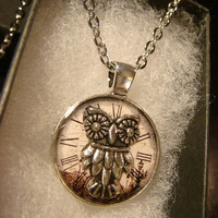 Small Silver Owl over Clock Face  Pendant Necklace (2258)