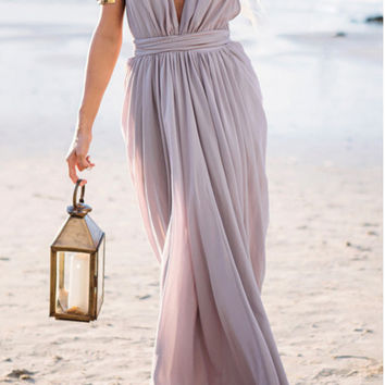 Halter Neck Bandage Beach Maxi Dress  B0013961