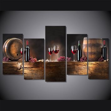 5 Pieces/set Wall Art Printed Wine Bochonki Grozdya Vinograd Painting for home decor print poster picture on canvas Wall Picture