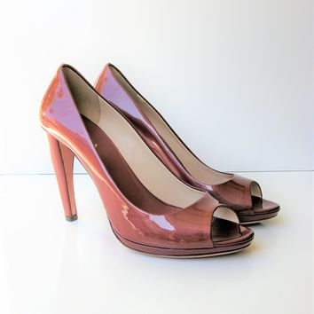 Prada Peep Toe Curved Heel Patent Leather Pump 39.5 / 9.5