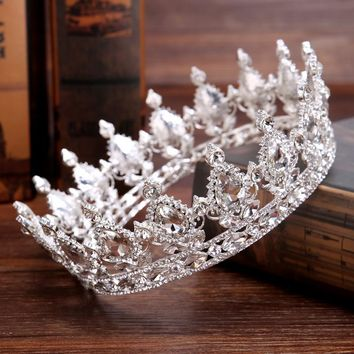 Cool Vintage Baroque Queen King Bride Tiara Crown For Women Headdress Prom Bridal Wedding Tiaras and Crowns Hair Jewelry AccessoriesAT_93_12