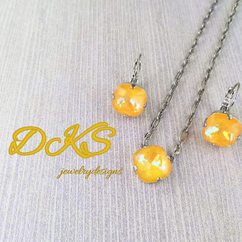 Ultra Citrine AB, Swarovski Set, Necklace, Earrings, Yellow, 12MM Square, Lever Backs, DKSJewelrydesigns, FREE SHIPPING