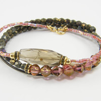 Pink Bracelet Set, Blush Pink Bracelet, Smoky Quartz Bracelet, Mauve Gray Gemstone Bangle Stack