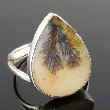 Dendritic Agate Sterling Silver Ring – Size 8.5
