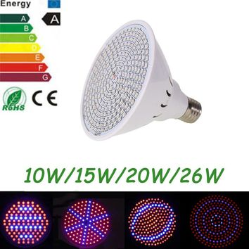 10W 15W 20W 26W LED Plant Grow Light Lamps E27 AC85-265V SMD3528 For Flowering Plant and Hydroponics System For Indoor Grow Box