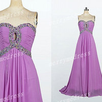 2014 Beads Purple Sweetheart Strapless Empired Long Celebrity Dress,Court train Chiffon Evening Party Prom Dress New Homecoming Dress