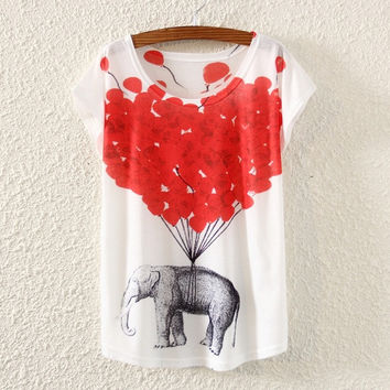 New Fashion Womens Short Sleeve Heart Printed T Shirt (Color: White) = 1956797636