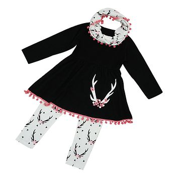 Girls Winter Wildlife Tunic Dress Pants Scarf /3PCS Clothes Set