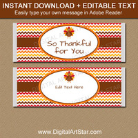 PRINTABLE Thanksgiving Candy Bar Wrappers - EDITABLE Thanksgiving Candy Labels - Thanksgiving Dinner Favors - Thanksgiving Gift Ideas T3