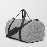 Black and white swirls doodles Duffle Bag by Savousepate