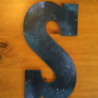 S Galaxy Painted Wood Letter
