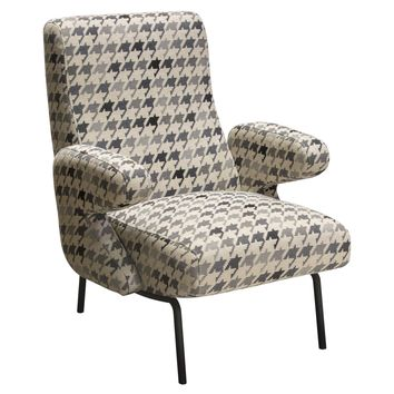 Harper Retro Accent Chair in Hounds Tooth Pattern Fabric
