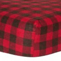 Brown and Red Check Print Flannel Crib Sheet