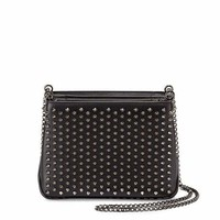 Christian Louboutin Triloubi Small Studded Leather Shoulder Bag, Black/Gunmetal