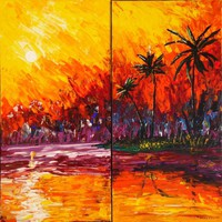 View: Palette knife painting expressionism sunset at sea tropical island palms nautical decor original abstract art Large paintings 100x100x2 cm stretched canvas acrylic art textured wall art ocean by artist Ksavera | Artfinder