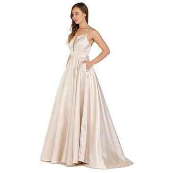 Double-Strap A-Line Long Prom Dress with Pockets Champagne