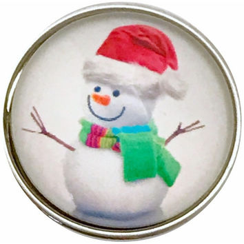 Sweet Snowman Snap Charm 20mm for Snap Jewelry