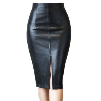 Feliavert Spring Autumn Skirts 2017 PU Leather Sexy Split High Waist Skirt Women Elegant Knee Length Pencil Skirt Black S~4XL