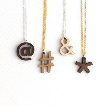Valentines Day Etsy Custom Symbol Necklace - Laser Cut Wooden Modern Symbols Typographic Jewelry For Her For Him