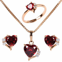 Yellow Gold Plated ReRuby Love Peach Heart Cubic Zirconia Pendant Necklace Stud Earrings Ring Girls Kids Jewelry Sets Gift