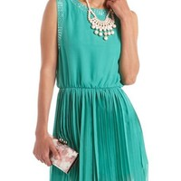 Embellished Pleated Chiffon Dress: Charlotte Russe