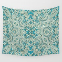 floral lace on blue Wall Tapestry by clemm