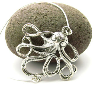 Octopus Stackable Bangles, Octopus Bracelet, Antique Silver Octopus, Sterling Silver, LoVE Friendship Bridesmaid Gifts,  Stacking Bangles