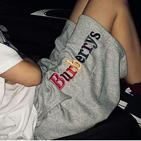 Burberry Fashion Women Men Casual Rainbow Color Letter Embroidery Sport Running Shorts Grey I-AA-XDD
