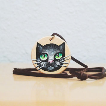 Halloween Black Cat Necklace - Hand Painted Wooden Pendant with Leather Cord and Gift Box - Unique Animal Lover Gift