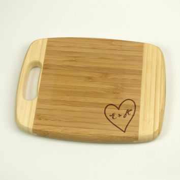 "Small Cheese Board - Bamboo Cutting Board 6.5"" by 8.5"", Laser cut engraving on wood designed to your needs"
