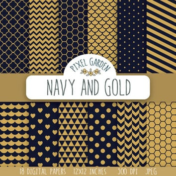 Navy and Gold Digital Paper Pack, Quatrefoil Scrapbooking Paper, Polka Dot Digital Clip Art, Chevron Printable Paper. Honeycomb Pattern.
