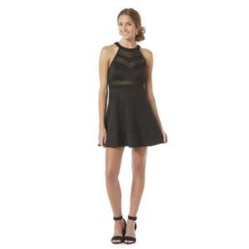 Junior's Mesh Panel Fit & Flare Dress