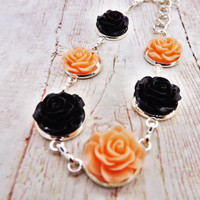Pinup Peach and Black Silver Flower Bracelet