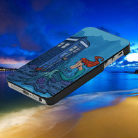 Ariel Mermaid meet Tardis dr who - For IPhone 4 / 4S / 5 / 5S / 5C and Samsung Galaxy S3 / S4 Case