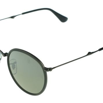 POLARIZED NEW Genuine RAY-BAN FOLDING Round Gunmetal Sunglasses RB 3517 029/N8