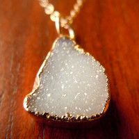 Geode Jewelry White Druzy Necklace in Gold by 443Jewelry on Etsy
