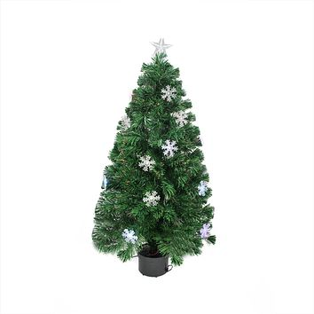 4' Pre-Lit Color Changing Fiber Optic Artificial Christmas Tree with Snowflakes