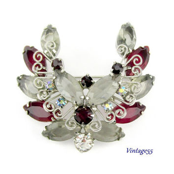 Brooch Red Smoke Rhinestones Scroll Delizza and Elster
