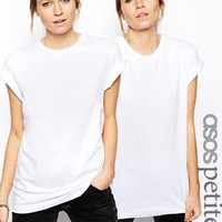 ASOS PETITE Boyfriend T-Shirt With Roll Sleeve 2 Pack Save 20% - White