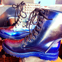 "Combat ""Prom Queen"" Studded Holographic Boots"