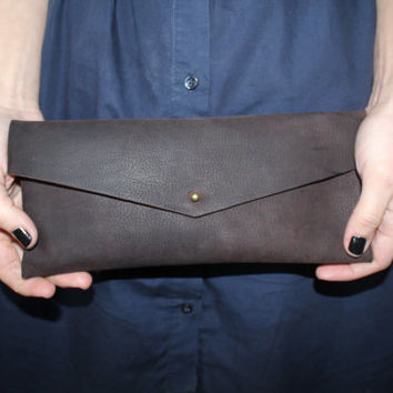 """Minimalist leather clutch """"Seagull"""" 