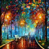 MISTY MOOD - PALETTE KNIFE Oil Painting On Canvas By Leonid Afremov studio / Afremov Art auction Paintings By Leonid Afremov.