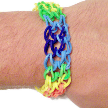 Rainbow Tie Dye Rubber Band Bracelet  - Rainbow Loom Style Stretch Bracelet