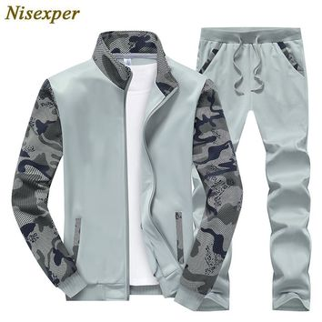 Nisexper 2017 Fashion Men Set Spring Autumn Men's Sportswear Jacket+Pant Sweatsuit 2 Piece Set Sportsuit Mens Sets Big Size 4XL