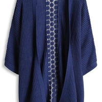 Blue 3/4 Sleeve Knit Cardigan with Floral Lace Accent